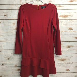 Ronni Nicole Red Dress Gold Zipper Ruffled